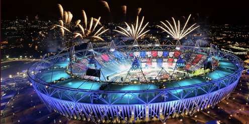 Olympics, Londnon 2012, Opening, aerial view, firework