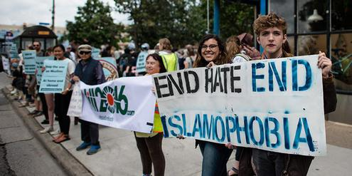 Stoppt den Hass! Stoppt die Islamophobie! Demonstration in Minnesota / USA