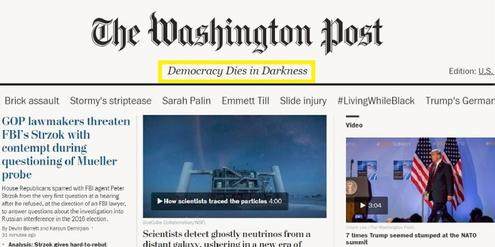 Slogan der «Washington Post»: «Democracy dies in darkness» (Demokratie stirbt in der Dunkelheit)