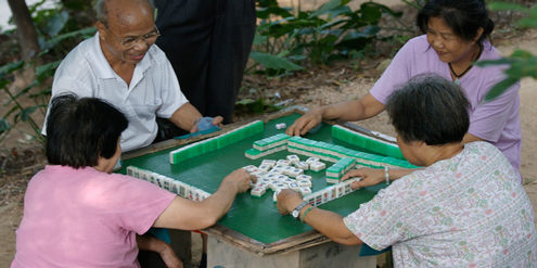 Mahjong wird in China überall gespielt
