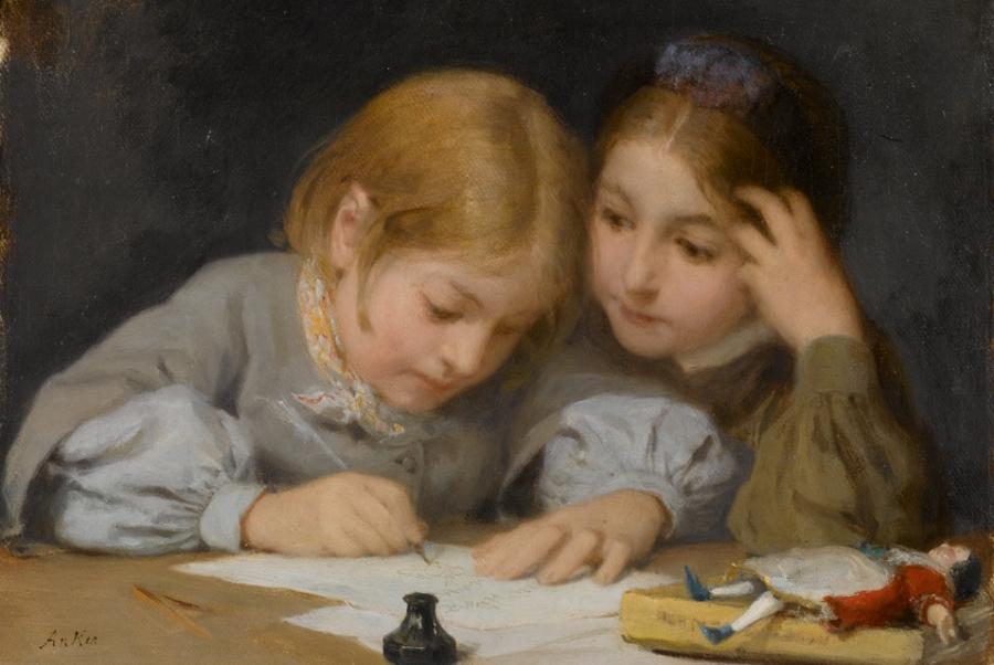 Albert_Anker_18311910_Schreibunterricht_1865__Oil_on_canvas