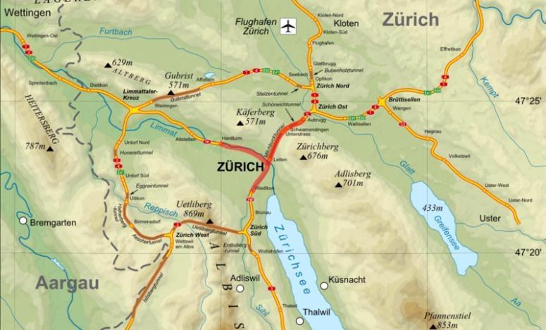 PlanAutobahnenimRaumZrichCopyrightKt_ZrichmitunvollendetemExpresstrassenYpsilonrot
