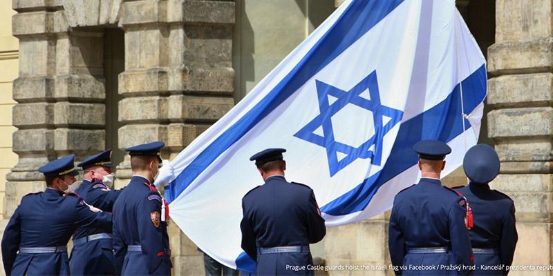 Prag_Präsidialamt_Flagge_Israel
